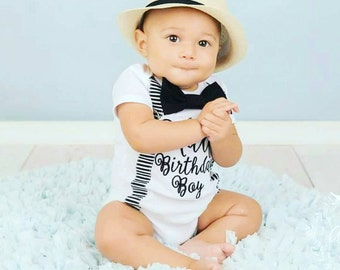 Boy half birthday onesie with matching suspenders and bow tie set, 1/2 Birthday baby boy onesie, Baby boy birthday outfit