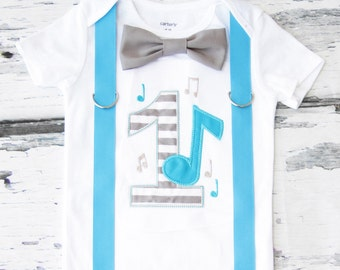 Boy first birthday music notes themed bow tie & Suspenders set Bow tie Number 1 Boy First Birthday Boy Cake Smash Outfit Boy 1st Birthday