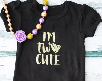 Girl I'm Two Cute  birthday Second Birthday  purple Gold Necklace Girl Cake Smash Black T-shirt Girl 2nd Birthday Outfit Girl two Year