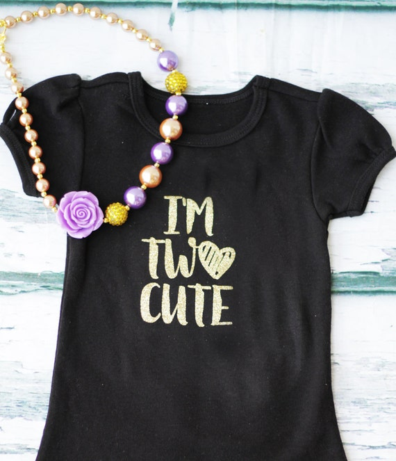 Girl I'm Two Cute Birthday Second Birthday Purple Gold