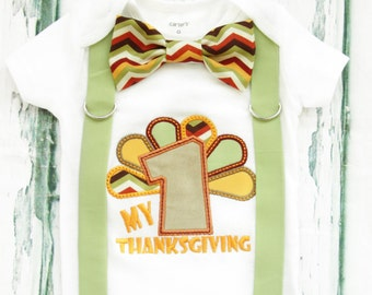 My First Thanksgiving Onesie, Baby Boy my first Thanksgiving, Bow tie and Suspender set, Fall Baby Boy Onesie, Boy Holiday Onesie