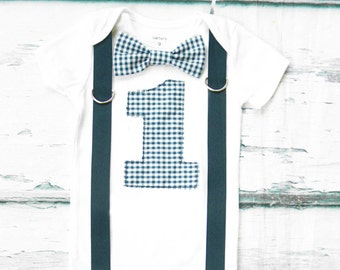 Baby Boy Navy blue gingham Plaid first birthday Bow tie Number 1 Boy First Birthday Boy Cake Smash Outfit Boy 1st Birthday suspenders tie