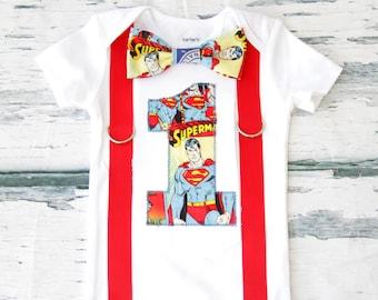 Boy birthday Superman Bow tie Suspenders set Boy Superman Clark Kent Cake Smash Boy first year outfit Boy number 1, Boy birthday, Boy Second