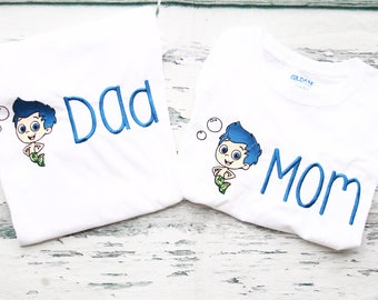 Bubble Guppies Mom and Dad matching shirts Parents shirts Family Shirts