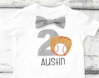 Boy 2nd  Birthday Grey and Navy baseball Themed shirt, Baby boy second birthday T-Shirt, glove and baseball two year old Baseball T Shirt