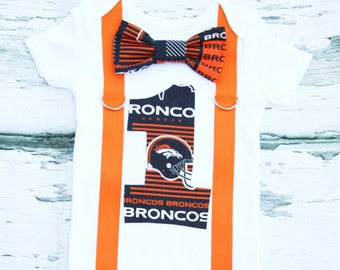 Baby boy Denver Broncos themed first birthday cake smash outfit Baby boy first birthday Broncos number 1 broncos bow tie and suspender set