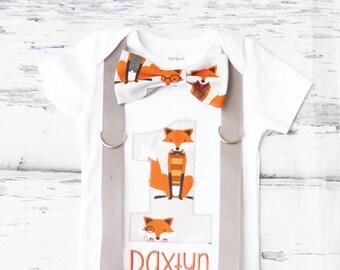 Baby boy fox theme birthday onesie with bow tie and suspenders,Preppy Fox theme cake smash outfit baby boy first birthday one year outfit
