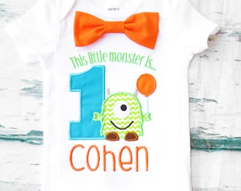 Baby Boy first birthday shirt Little Monster Bow tie  Monsters Boy Cake Smash Boy first year outfit Boy first birthday, Boy Second