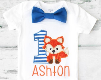 Baby boy first birthday Baby Fox themed cake smash outfit boy little Fox 1st birthday one year bow tie onesie  boy birthday shirt
