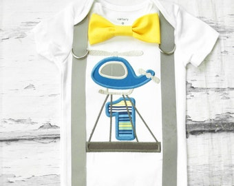 Boy first birthday Helicopter Suspenders Bow tie Striped 1 Boy First Birthday Boy Cake Smash Outfit Boy 1st Birthday yellow Bow tie set