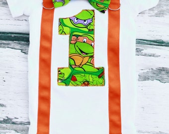 Ninja Turtle Theme Bow Tie and Suspender Set,  Baby Boy Cake Smash Outfit, Boy First Year Outfit,