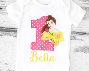 Beauty and The Beast Baby Girl First Birthday Belle Girl birthday Onesie Customized Beauty and the Beast Birthday Onesie Belle Birthday