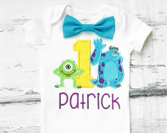 Baby boy Monsters, Inc. Sully and Mike first birthday onesie Monster, Inc Sully  boy one year outfit monster birthday bow tie boy birthday