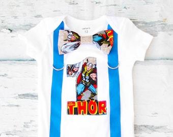 Boy birthday Thor Marvel Super Hero Bow tie Suspenders set, Boy Cake Smash, Boy first year outfit, Boy number 1, Boy birthday, Boy Second