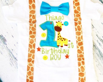 Baby boy first birthday Baby Giraffe themed cake smash outfit boy little giraffe 1st birthday one year bow tie shirt  boy birthday shirt