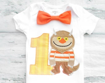 Boy first birthday Where the wild things are Bow tie monster Boy Cake Smash Boy first year outfit Boy first birthday, Boy Second