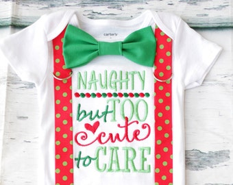 Naughty but too cute to care Baby Boy onesie, Ugly Christmas onesie, Matching Bow tie and suspender set Boy Christmas outfit first christmas