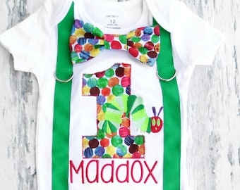 Baby Boy First Birthday Hungry Hungry Caterpillar themed first birthday bow tie suspender set Boy one year cake smash Rainbow themed first