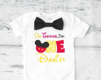 Baby first birthday Oh Toodles I'm One themed cake smash outfit boy Mickey Mouse 1st birthday one year bow tie onesie  boy birthday shirt