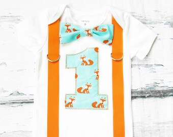 Baby boy fox birthday onesie with bow tie and suspenders, Fox theme cake smash outfit baby boy first birthday one year outfit