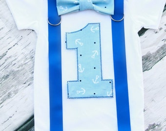 Baby Boy Nautical Theme Bow tie and Suspenders set Boy Cake Smash Boy first year outfit Boy number 1 Boy first birthday Boy Second Sailing