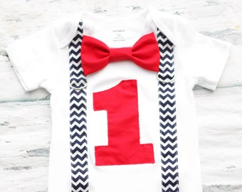 Baby boy red first birthday navy chevron suspenders with red bow tie Baby boy red and navy first birthday red cake smash outfit boy one