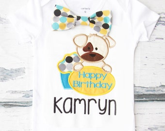 Boy first birthday puppy dog 1st birthday polka dot bow tie puppy cake smash outfit Boy first birthday Boy number 1 puppy dog first bday