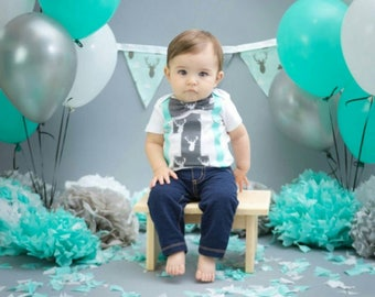 Baby Boy Hunting Theme Bow tie and Suspenders set, Boy Cake Smash, Boy first year outfit, Boy number 1, Boy first birthday, Boy buck onesie