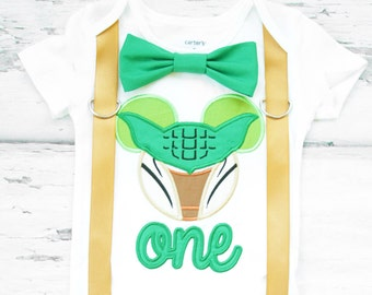Baby first birthday Yoda Star wars themed cake smash outfit boy Mickey Mouse Yoda 1st birthday one year bow tie onesie  boy birthday shirt