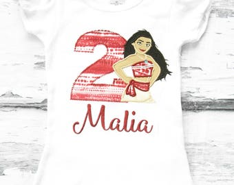Disney Moana Baby Girl Second Birthday Moana Girl birthday Cap Sleeves t- shirt Customized Moana Birthday Onesie Moana Birthday