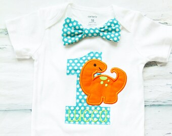 Baby boy first birthday orange Dinosaur themed cake smash outfit boy little Dino 1st birthday one year bow tie onesie  boy birthday shirt