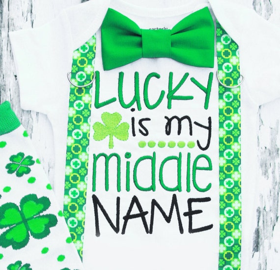 baby boy lucky is my middle name st patrick s day onesie etsy