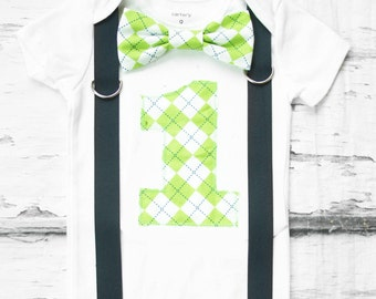 Baby Boy Lime Green Plaid first birthday Bow tie Number 1 Boy First Birthday Boy Cake Smash Outfit Boy 1st Birthday suspenders Plaid Bow tie