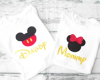 mickey and minnie  Mom and Dad matching shirts Parents shirts Family Shirts Disney matching family shirts