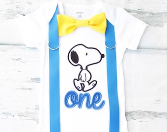 Boy first birthday Snoopy Charlie Brown themed first birthday onesie ONE year cake smash Boy first birthday Boy 1st birthday Charlie Brown