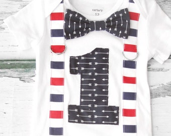 Navy Arrow Theme Bow tie and Suspenders set Boy Cake Smash, Boy Aztec first year outfit,  Boy number 1, Boy first birthday, Boy Second,Boy