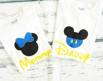 baby Mickey Minnie Mom and Dad matching shirts Parents shirts Mommy and Daddy blue Mickey Minnie Shirts family shirts