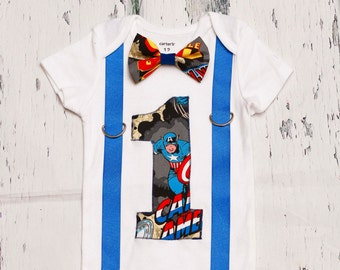 Captain America Theme, Super Hero Bow tie and Suspenders set, Boy Cake Smash, Boy first year outfit, Boy number 1, Boy birthday, Boy Second