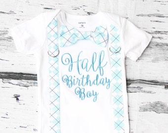 Light Blue half birthday shirt Baby Boy half birthday onesie with suspenders and bow tie set, 1/2 Birthday baby boy onesie, Baby boy outfit