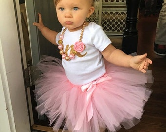 Girl first birthday Cake Smash Pink Gold Number One Onesie gold rose headband Girl Cake Smash Tutu Girl 1st Birthday Outfit Girl Year