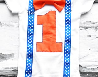 Orange and Blue polka dot Boy birthday bow tie & Suspenders set Bow tie Number 1 Boy First Birthday Boy Cake Smash Outfit Boy 1st Birthday,