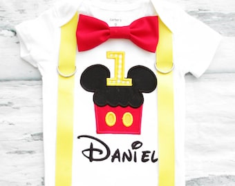 Baby first birthday Mickey Mouse Cupcake  themed cake smash outfit boy Mickey Mouse 1st birthday one year bow tie onesie  boy birthday shirt