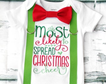 Most likely to spread Christmas Cheer Baby Boy onesie, Ugly Christmas onesie, Matching Bow tie and suspender set Boy first Christmas outfit