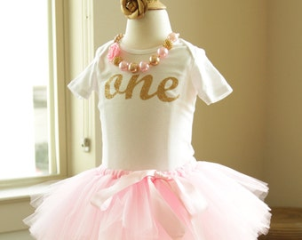Girl Cake Smash Pink Gold Number One Onesie matching gold rose headband Girl Cake Smash Tutu Girl First Birthday Outfit Girl One Year Outfit