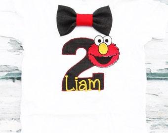 Boy second birthday Elmo themed 2nd birthday shirt Toddler boy second birthday Elmo T Shirt, Add Parents Shirts, Boy number 2 Elmo Shirt
