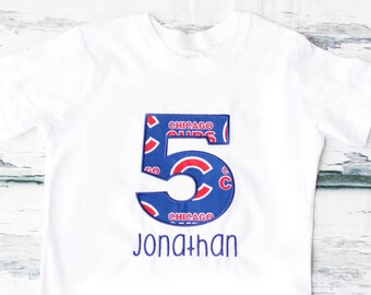 Boy 5th Birthday Chicago Cubs Themed shirt, Baby Girl five year old Chicago Cubs T-Shirt, Fifth Birthday Chicago Cubs MLB Baseball T Shirt