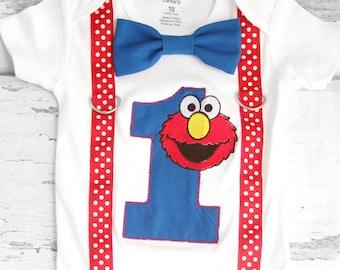 Boy first birthday shirt Blue Elmo Bow tie Suspenders Add Parents' Shirts, Sesame Street  Boy Cake Smash Boy first year first birthday Boy