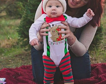 My 1st Christmas Baby Boy onesie, Reindeer Christmas onesie, Matching Bow tie and suspender set, Boy Christmas outfit