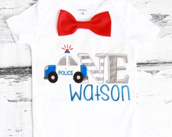 Boy first birthday Police 1st birthday Police Cop Car Red bow tie set cake smash outfit Boy first birthday Boy number 1 ONE  first bday