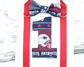 Baby Boy New England Patriots first birthday cake smash onesie, Baby boy Patriots one year onesie Boy Patriots bow tie suspender set boy 1st